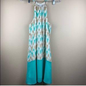 • Charming Charlie • Teal Chevron A- Line Dress